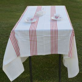 100% Cotton Rust Red Colour Stripe Pattern White Colour Table Cover (Size 260x180 Cm)