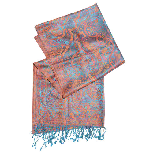 100% Superfine Silk Turquoise, Orange and Multi Colour Paisley Pattern Jacquard Jamawar Scarf with Tassels (Size 180X70 Cm)