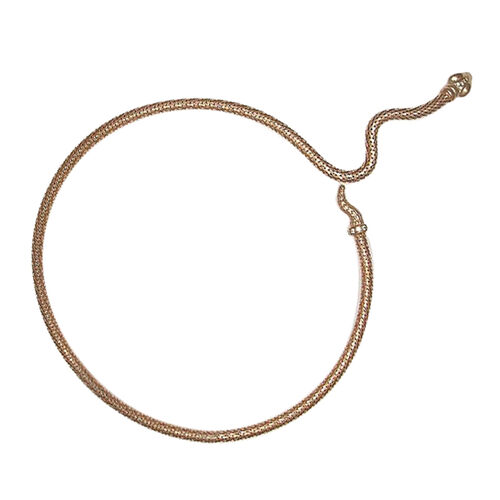 Italian Made Snake Necklace (Size 18) in Rose Gold Overlay Sterling Silver, Silver wt. 27.87 Gms.