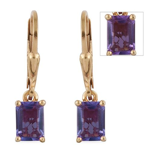 Lavender Alexite (Oct) Lever Back Earrings in 14K Gold Overlay Sterling Silver