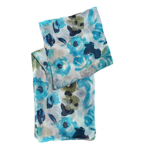100% Mulberry Silk Multi Colour Floral Printed Aquamarine and Scarf (Size 180x100 Cm)