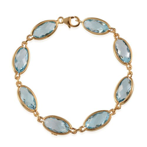 Sky Blue Topaz (Ovl) Bracelet (Size 7.5) in Yellow Gold Overlay Sterling Silver 33.250 Ct.