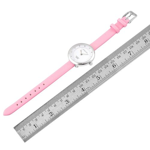 STRADA Japanese Movement White Austrian Crystal Watch with Stainless Steel Back and Pink Colour Strap
