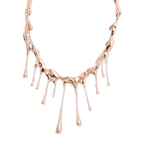 LucyQ Multi Drip Necklace (Size 16.5 with 4 inch Extender) in Rose Gold Overlay Sterling Silver 82.15 Gms.