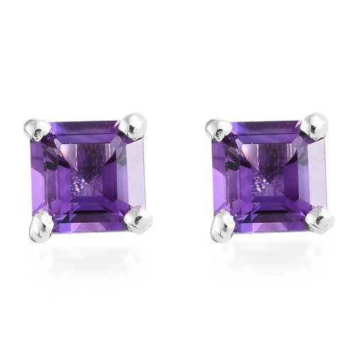 Amethyst 2 Ct Silver Stud Earrings (with Push Back) in Platinum Overlay