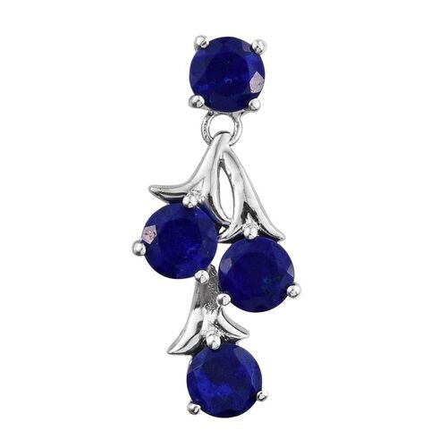 Lapis Lazuli (Rnd) Pendant in Platinum Overlay Sterling Silver 3.250 Ct.
