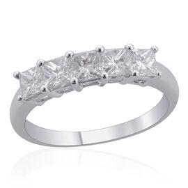 ILIANA 18K White Gold 1 Carat IGI Certified Princess Cut Diamond (SI /G-H) 5 Stone Ring