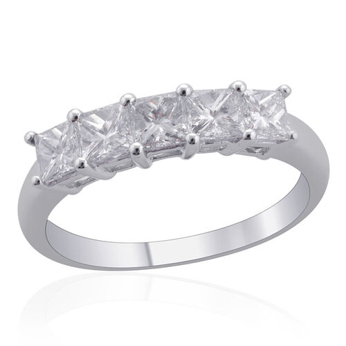 ILIANA 18K White Gold 1 Carat IGI Certified Princess Cut Diamond (SI /G-H) 5 Stone Ring