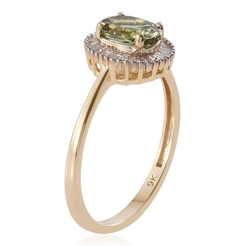 Limited Edition 9K Y Gold Very Rare AA Natural Green Tanzanite (Ovl 1.35 Ct), Diamond Ring 1.500 Ct.