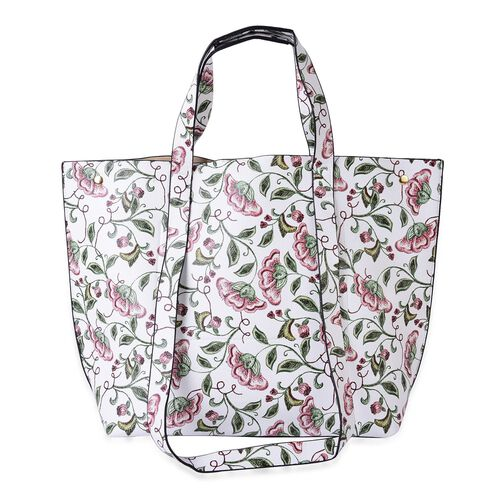 Designer Inspired - White, Pink Floral Pattern Top Handle and Shoulder Handle Tote Bag (Size 47X33X33X13 Cm)