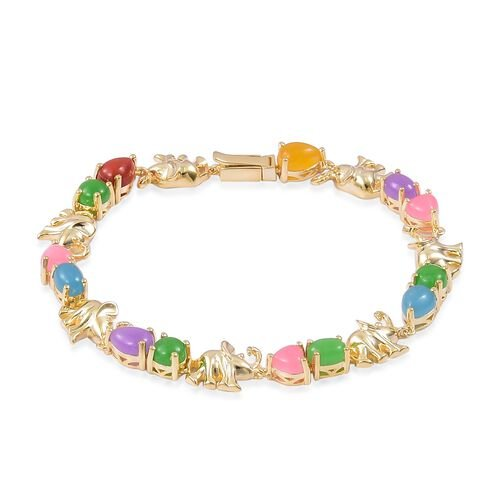 Blue Jade (Ovl 1.75 Ct), Red Jade, Yellow Jade, Green Jade, Purple Jade and Pink Jade Elephant Link Bracelet (Size 8.25) in Yellow Gold Overlay Sterling Silver 16.970 Ct.