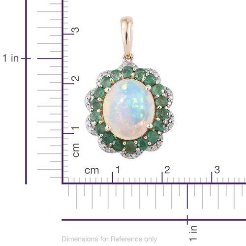9K Yellow Gold AA Ethiopian Welo Opal (Ovl 2.80 Ct), AA Brazilian Emerald and Diamond (I3 Graded) Pendant 4.000 Ct.