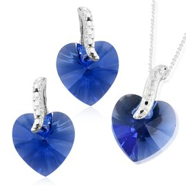 J Francis Crystal from Swarovski - Sapphire Colour Crystal (Hrt) Pendant with Chain and Earrings (with Push Back) in Sterling Silver