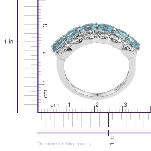 Paraibe Apatite (Ovl) Half Eternity Ring in Platinum Overlay Sterling Silver 1.000 Ct.