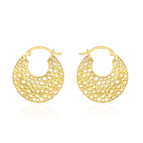 Close Out Deal 9K Yellow Gold Wavy Creole Hoop Earrings (with Clasp)