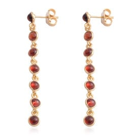Indian Garnet (Rnd) Dangle Earrings (with Push Back) in Yellow Gold Overlay Sterling Silver