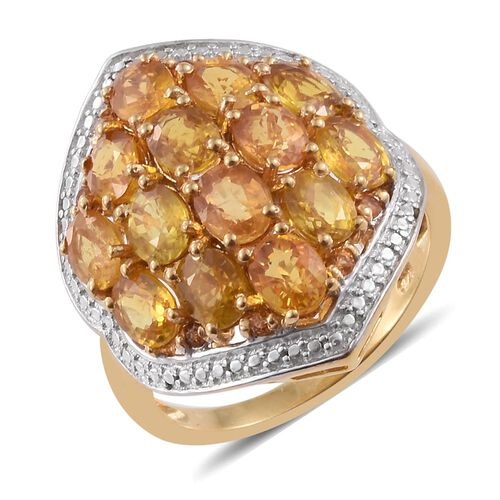 Preview Auction-Rare Sunset Sapphire (Ovl) Ring in 14K Gold Overlay Sterling Silver 6.240 Ct.