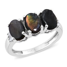 Natural Spectrolite (Ovl), Diamond Ring in Platinum Overlay Sterling Silver 2.250 Ct.