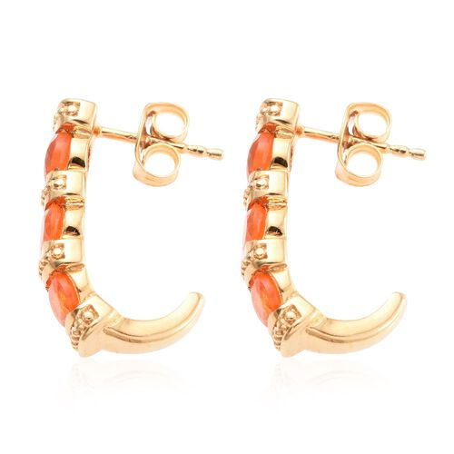 Jalisco Fire Opal (Ovl) J Hoop Earrings (with Push Back) in 14K Gold Overlay Sterling Silver 1.500 Ct.