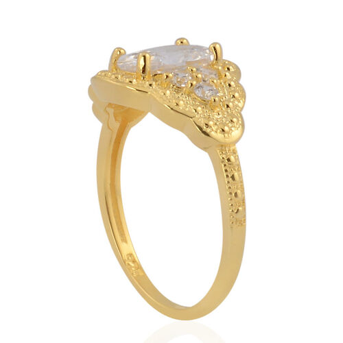 AAA Simulated White Diamond Ring in Yellow Gold Overlay Sterling Silver 1.860 Ct.