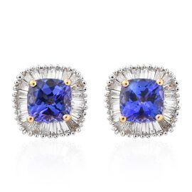 ILIANA 18K Yellow Gold AAA Tanzanite (Cush), Diamond (SI/G-H) Stud Earrings (with Screw Back) 1.500 Ct.