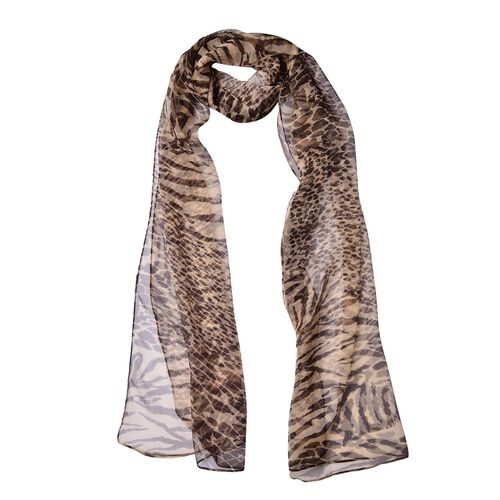 One Time Deal - 100% Mulberry Silk Chocolate Colour Leopard Pattern Scarf (Size 180X50 Cm)