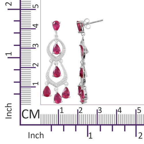 African Ruby (Pear) Chandelier Earrings (with Push Back) in Rhodium Plated Sterling Silver 5.500 Ct. Silver wt 5.00 Gms.