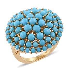 6.50 Carat Arizona Sleeping Beauty Turquoise Cluster Ring in 14K Gold Overlay Sterling Silver