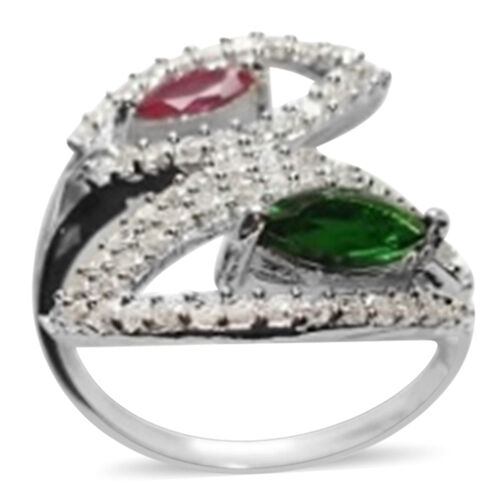 ELANZA AAA Simulated Emerald (Mrq), Simulated Ruby and Simulated Diamond Crossover Ring in Rhodium Plated Sterling Silver