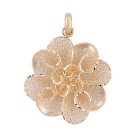 Premium Collection- Royal Bali Collection Handwoven 9K Yellow Gold Flower Pendant