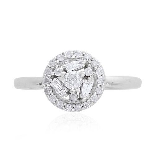 9K W Gold SGL Certified Diamond (Rnd 0.10 Ct) (I3/ G-H) Ring 0.500 Ct.