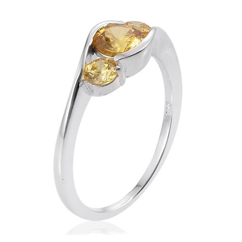 J Francis - Sterling Silver (Rnd) 3 Stone Ring Made with Yellow SWAROVSKI ZIRCONIA