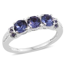 J Francis Crystal from Swarovski - Tanzanite Colour Crystal (Rnd) Ring in Sterling Silver