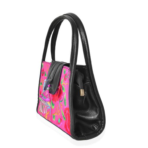 Shanghai Collection Black, Pink and Multi Colour Flower and Bird Pattern Tote Bag (Size 28x18.5x10 Cm)