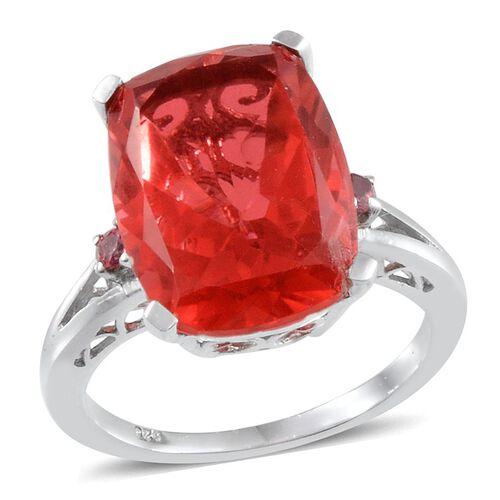 Padparadscha Colour Quartz (Cush 9.90 Ct), Ouro Fino Rubelite Ring in Platinum Overlay Sterling Silver 10.000 Ct.