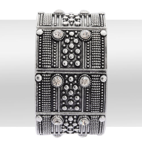 White Austrian Crystal Stretchable Bracelet (Size 7.5) in Silver Tone
