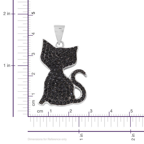 Boi Ploi Black Spinel (Rnd) Cat Pendant in Rhodium Plated Sterling Silver 2.750 Ct.