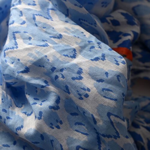 Set of 2 - 100% Superfine, Premium Grade Cotton Orange and Multi Colour Printed White and Blue Colour Pareo (Size 180x100 Cm)