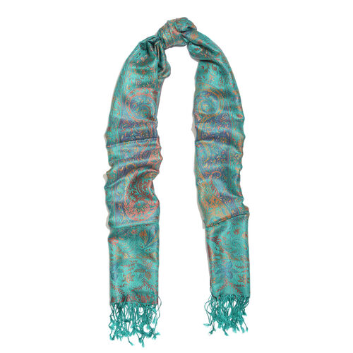 SILK MARK- 100% Superfine Silk Green, Blue and Multi Colour Jacquard Jamawar Scarf with Fringes (Size 180x70 Cm)