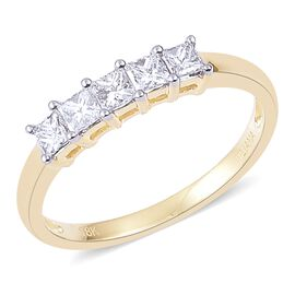 ILIANA 18K Yellow Gold 0.50 Carat Princess Cut Diamond 5 Stone Ring IGI Certified (SI/G-H)