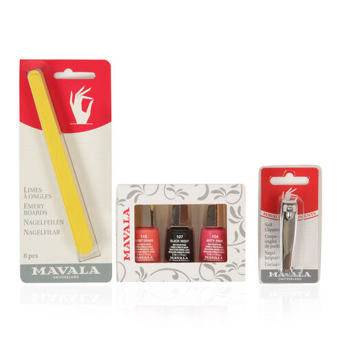 Mavala- Party Nights 3 x Polish 5ml- Sunset Orange, Black Night and Arty Pink with Emery Boards and Nail Clipper