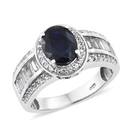 Rare Size Masoala Sapphire (Ovl 10x8mm), White Topaz Ring in Platinum Overlay Sterling Silver 6.000 Ct.
