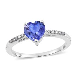 9K White Gold 1.50 Ct AA Tanzanite Heart Ring with Diamond