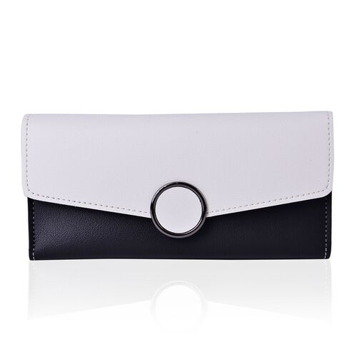 Designer Inspired - Black and White Colour Ladies Purse with Multiple Card Slots and Metallic Circle at Front (Size 19X10X1 Cm)