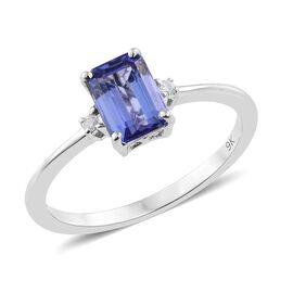 9K White Gold 1 Carat AA Tanzanite, Diamond Ring