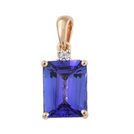 ILIANA 18K Yellow Gold AAA Tanzanite (Oct), Diamond (SI/G-H) Pendant 2.900 Ct.
