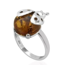Baltic Amber (Rnd) Solitaire Ring in Rhodium Plated Sterling Silver 3.500 Ct.