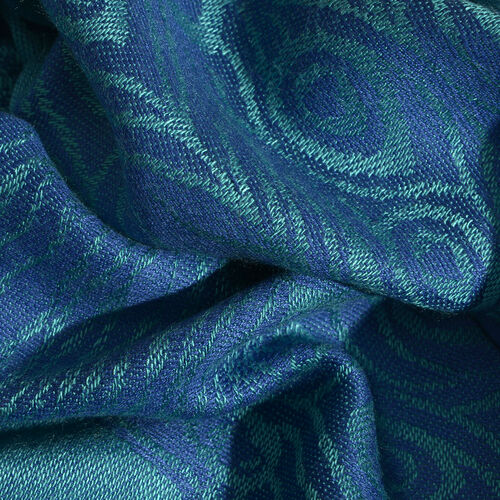 Blue and Multi Colour Peacock Pattern Jacquard Scarf with Tassels (Size 180X70 Cm)