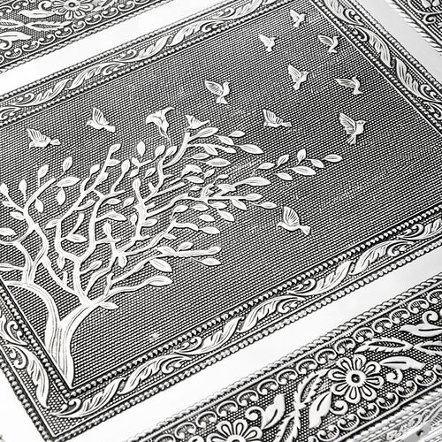 Designer Inspired-Handcrafted Tree with Birds Embossed 100 Slot Ring Box with Mirror Inside (Size 37X25X5 Cm)