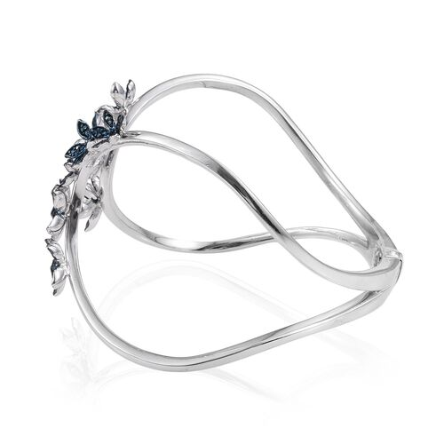 Kimberley Forget Me Not Collection - Blue Diamond (Rnd) Floral Bangle (Size 7.5) in Platinum Overlay Sterling Silver 0.750 Ct.